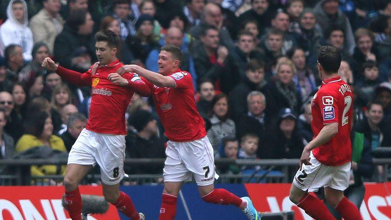 Luke Murphy: The striker celebrates his goal in Crewe's 2-0 final victory