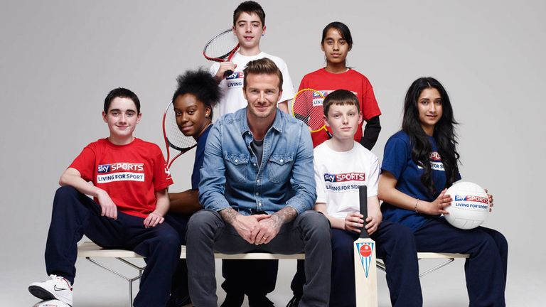 David Beckham with Sky Sports Living for Sport participants Adam Brown, Eden Anderson, Michele Meola, Maariyah Atta, Conor Greensmith and Nahida Begum