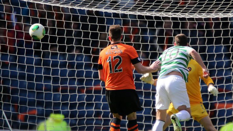 Anthony Stokes scores the winning goal in Celtic's 4-3 semi-final victory over Dundee United