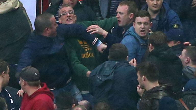 Violence broke out behind one of the goals late on in the Wembley semi-final.