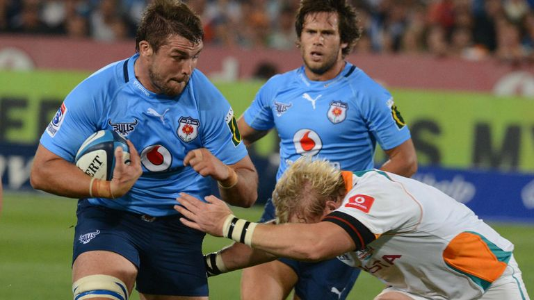 Flip van der Merwe takes the ball into contact