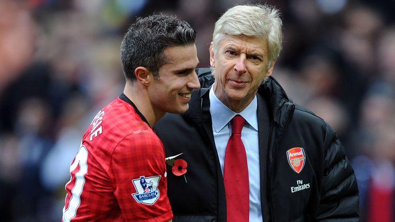 Arsene Wenger greets Robin van Persie last season