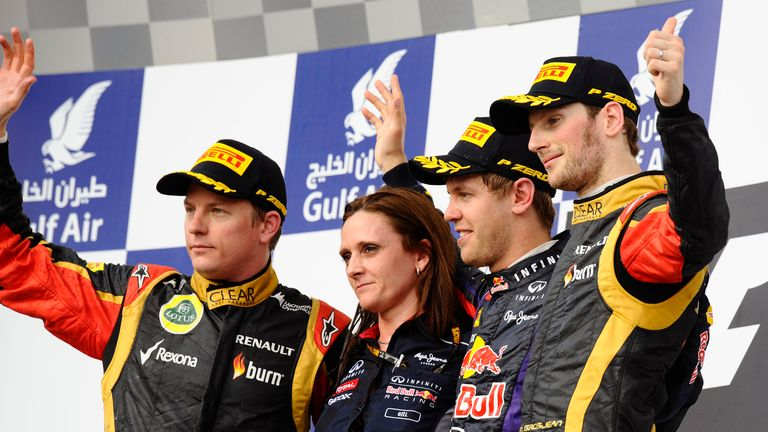 Kimi Raikkonen and Romain Grosjean share the Bahrain Grand Prix podium with Sebastian Vettel