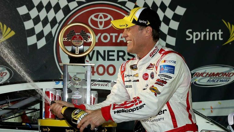 Kevin Harvick celebrates after his victory at Richmond