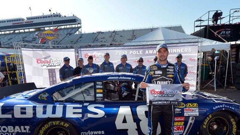 Jimmie Johnson: Celebrates his pole at Martinsville Speedway