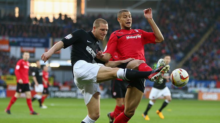 Charlton's Michael Morrison competes with Cardiff striker Rudy Gestede