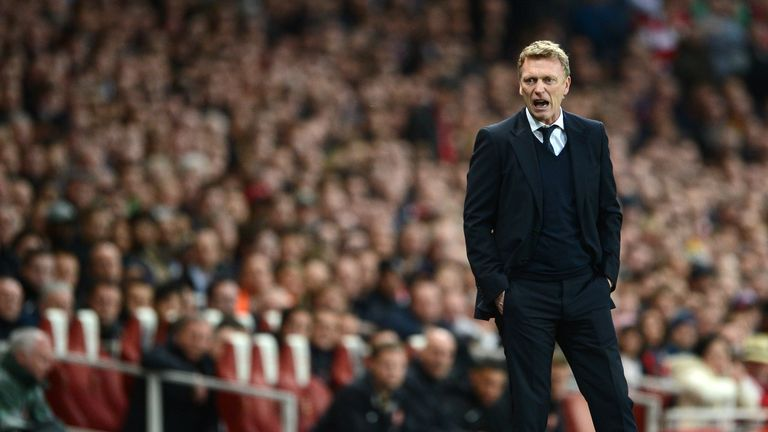 David Moyes: Urges his side on during their 0-0 draw with Arsenal