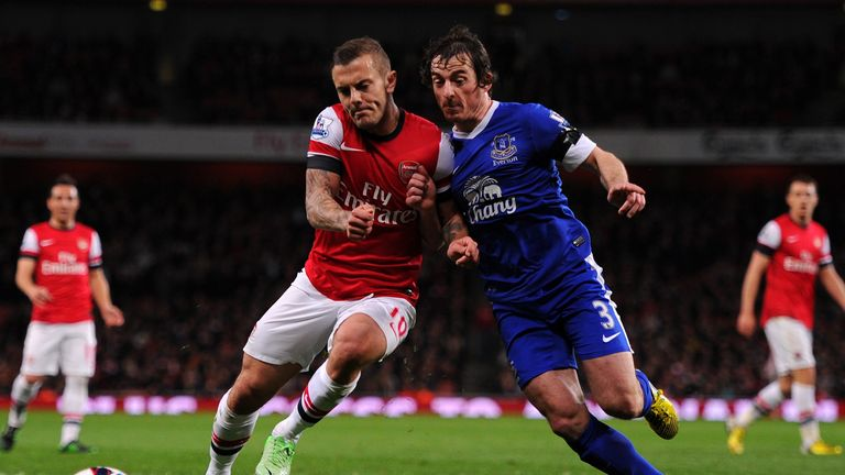 Leighton Baines tangles with Jack Wilshere in Tuesday's 0-0 draw between Arsenal and Everton