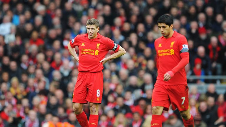 Steven Gerrard and team mate Luis Suarez during the Premier League match between Liverpool and Chelsea at Anfield