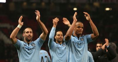 Man City: Celebrate their win at Old Trafford