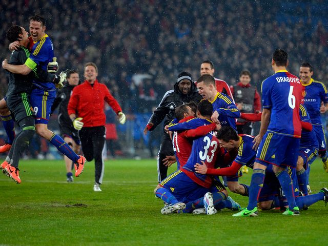 Basle celebrate beating Tottenham on penalties