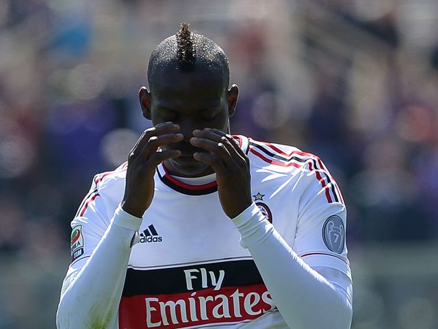 AC Milan's Mario Balotelli shows his frustration