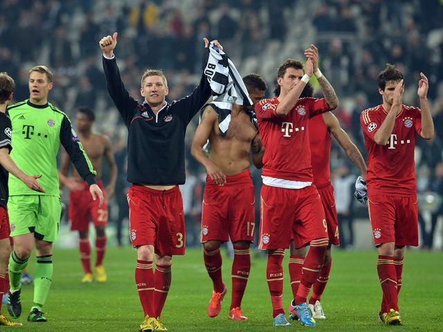 Bayern Munich celebrate their victory in Turin