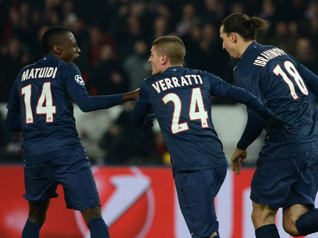 Blaise Matuidi (l) celebrated after PSG drew level
