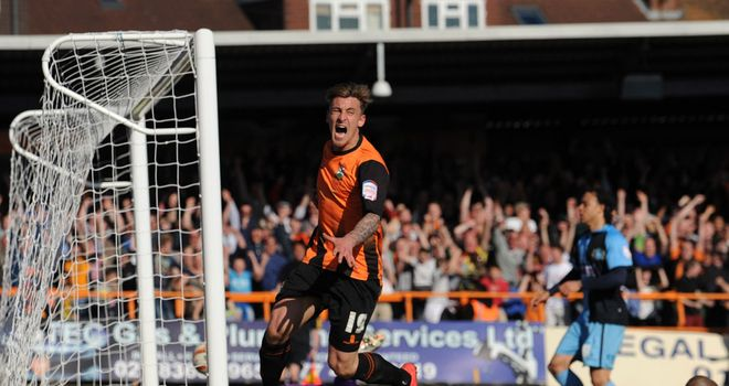 Jake Hyde: Celebrates his crucial goal for Barnet