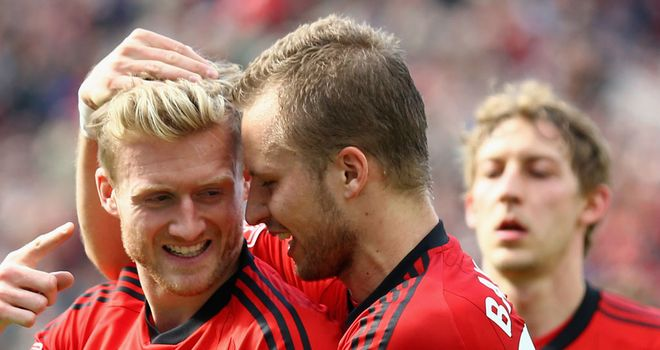 Andre Schurrle netted twice for Bayer Leverkusen