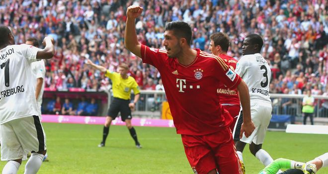 Emre Can celebrates his goal for Bayern Munich