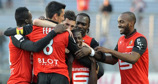 Rennes celebrate Abdoulaye Doucoure's goal