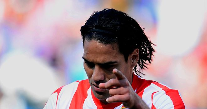 Falcao celebrates one of his two goals