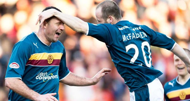 Michael Higdon: Celebrates with James McFadden at Tannadice