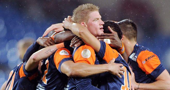 Montpellier celebrate Daniel Congre's goal