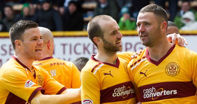 Michael Higdon: Is congratulated after netting second against Celtic