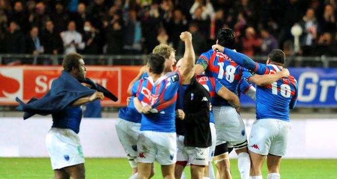 Grenoble celebrate their famous victory over Toulon on Saturday