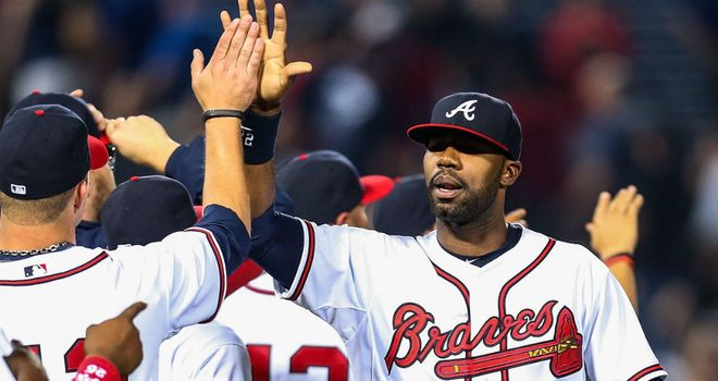 Jason Heyward celebrates a win for the Atlanta Braves