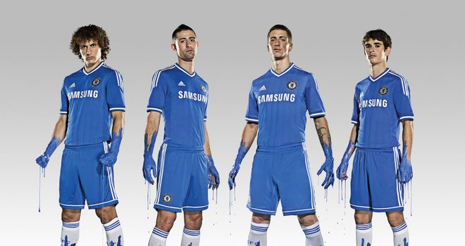 David Luiz, Gary Cahill, Fernando Torres and Oscar model adidas' new Chelsea kit for the 2013/14 season