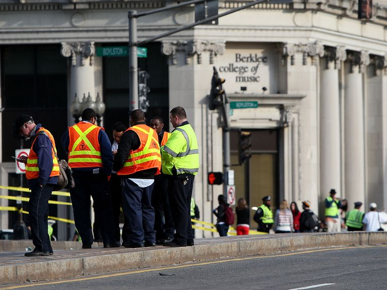 Rescue workers at the scene in Boston