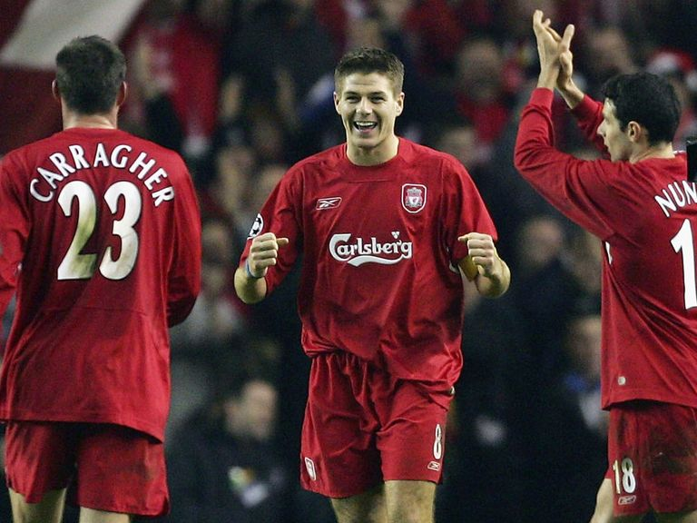 Gerrard celebrates the 2004 victory over Olympiacos