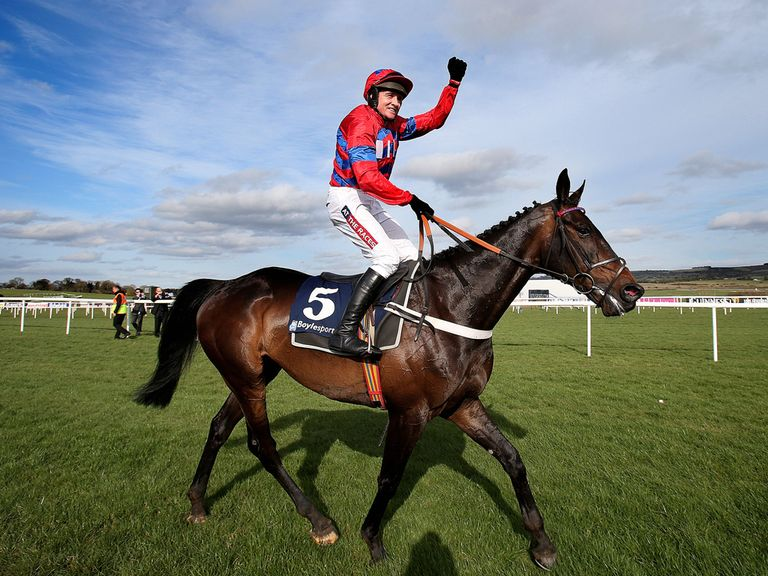 Barry Geraghty celebrates after Sprinter Sacre's success in last year's race