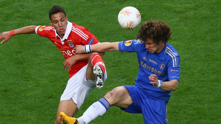 David Luiz: Chelsea defender in action against his former club Benfica