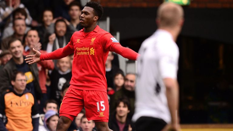 Daniel Sturridge celebrates his first goal of his hat-trick