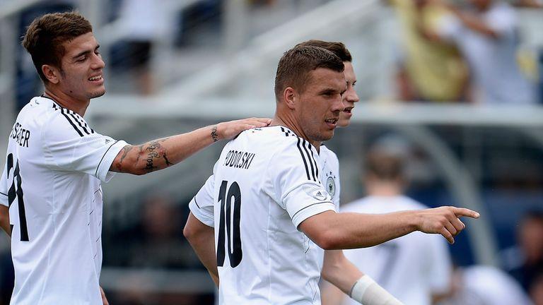 Lukas Podolski: Celebrates quick opener