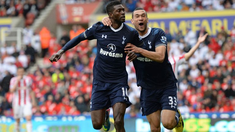 Emmanuel Adebayor: Celebration time after grabbing the headlines