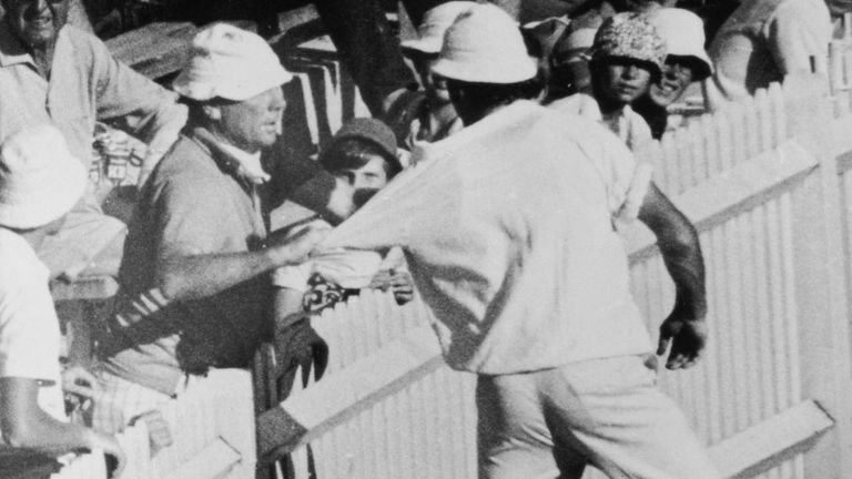 Gripping stuff: a member of the crowd grabs England's John Snow at a fractious SCG in 1971
