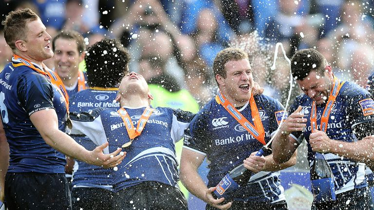 Leinster celebrate after their 24-18 win over Ulster