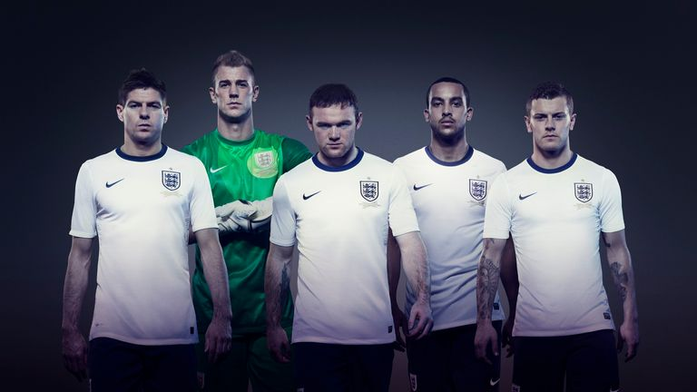 Jack Wilshere, Steven Gerrard, Joe Hart, Theo Walcott and Wayne Rooney wear the new Nike England home kit 2013