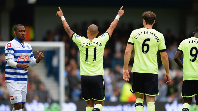 Yoan Gouffran: Celebrates his goal for Newcastle at Loftus Road