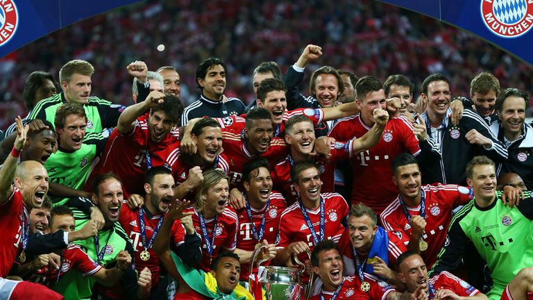 Bayern Munich celebrate their UEFA Champions League triumph