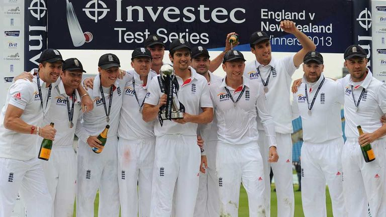 Alastair Cook and his England team celebrate their series victory
