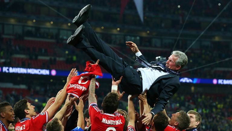 Jupp Heynckes: Hoisted into the air after a dramatic Champions League triumph