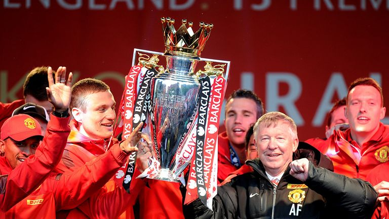 Sir Alex Ferguson: Celebrates the Premier League title