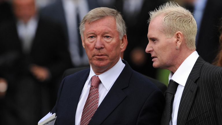 Manchester United manager Sir Alex Ferguson and former England footballer Paul Gascoigne.