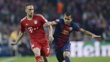 Dani Alves: Brazilian defender tangles with Franck Ribery