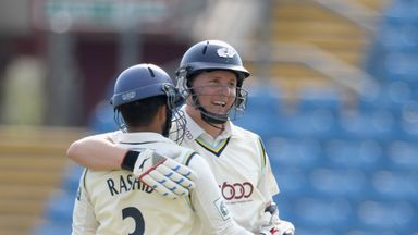 Gary Ballance: Yorkshire batsman is congratulated by Adil Rashid on reaching his century