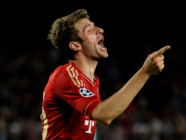 Thomas Muller celebrates his goal for Bayern Munich