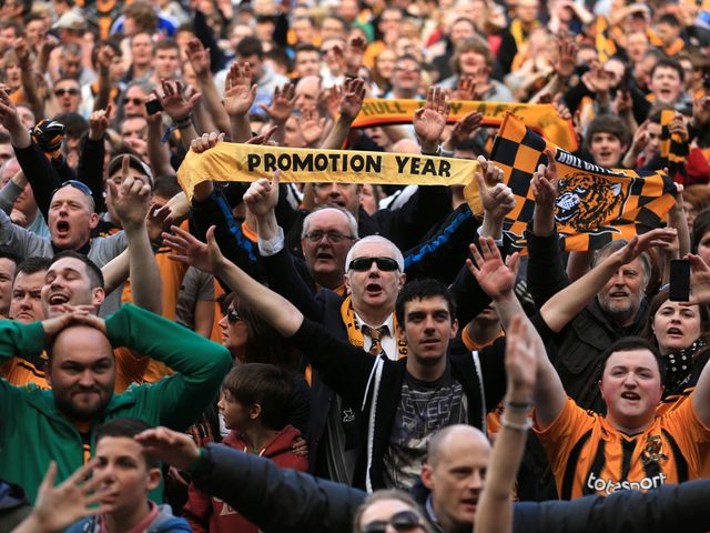Hull fans celebrate after a joyous day for the Tigers