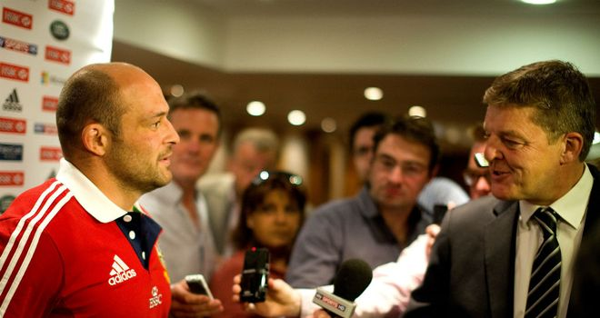 New Lions recruit Rory Best is interviewed by Sky Sports News reporter Phil Edwards
